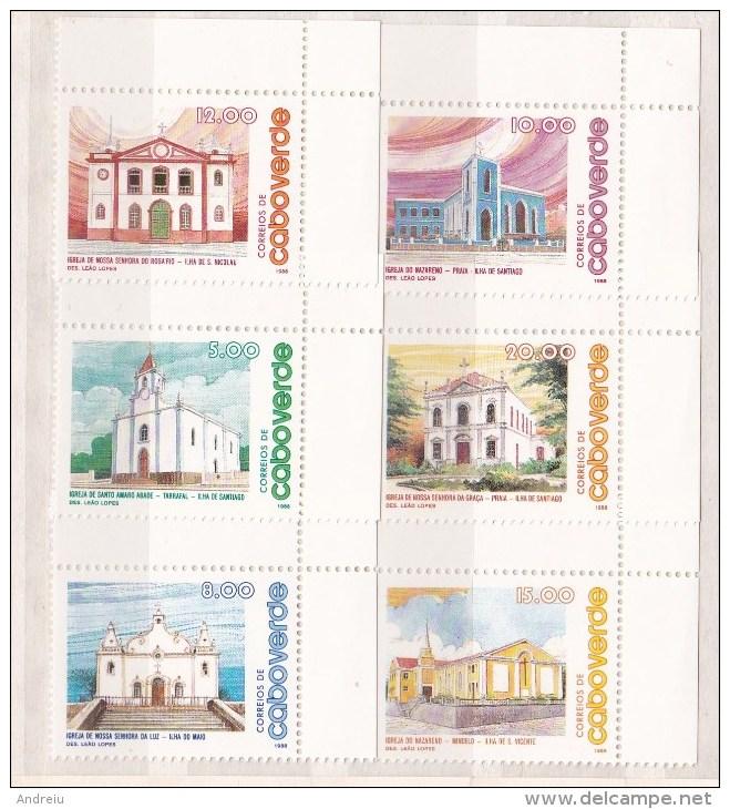 1988 Cape Verde , Cabo Verde - Churches 6v, églises , Kirchen, Iglesias, Architecture Scott 531/36 MNH - Kerken En Kathedralen