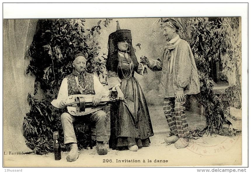 Carte Postale Ancienne Bresse - Invitation à La Danse - Costume Folklorique, Musique, Vielle - Autres Communes