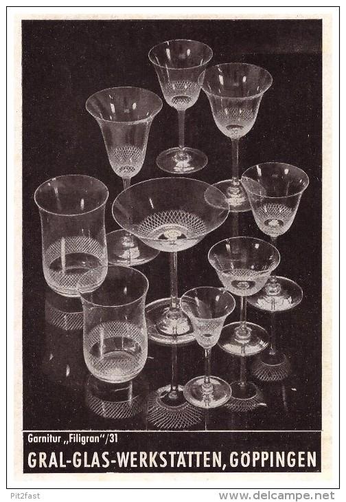 Original Werbung - 1941 - Gral-Glas-Werkstätten In Göppingen , Glas , Gläser !!! - Glas & Kristall
