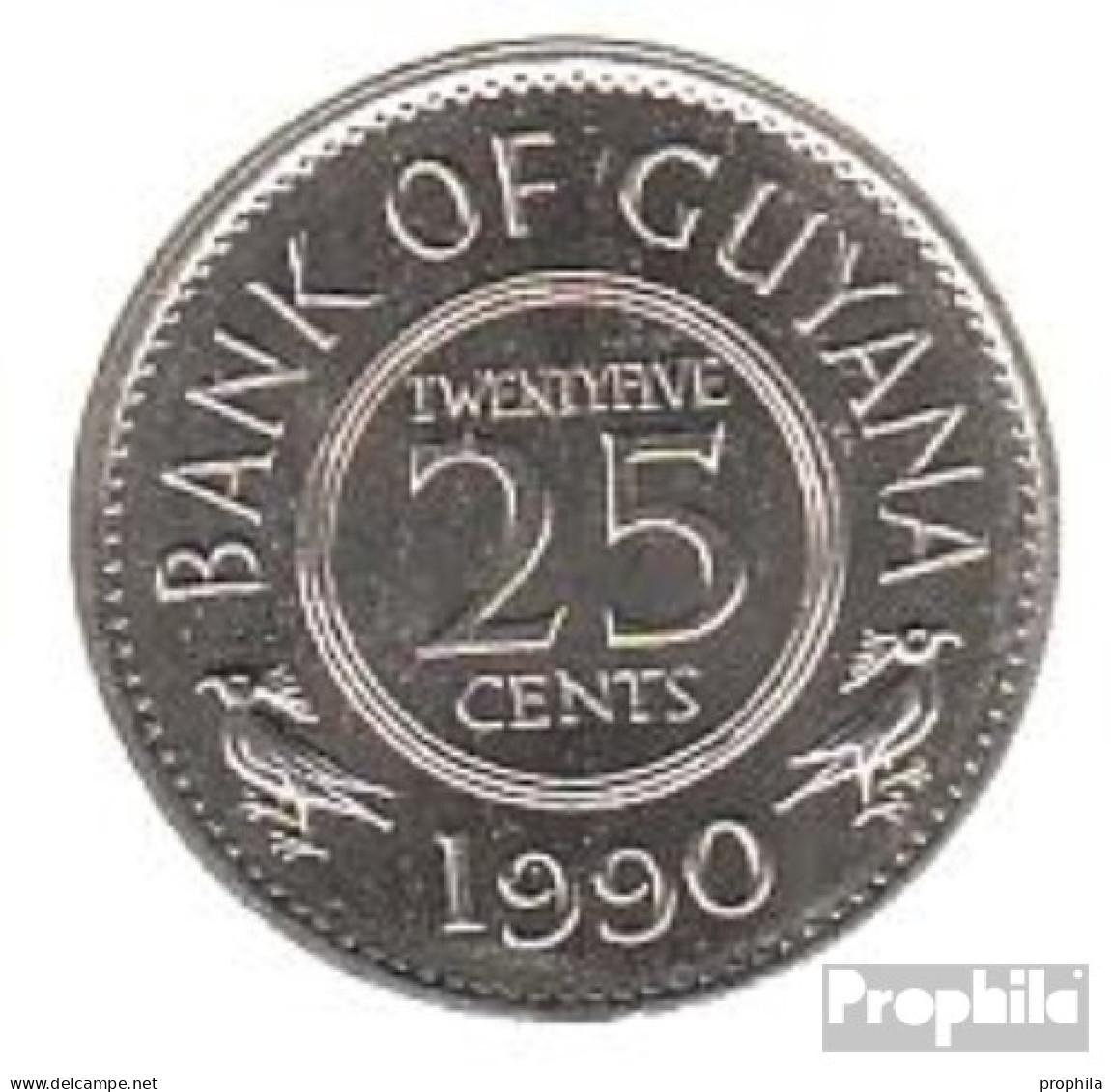 Guyana 34 1990 Stgl./unzirkuliert Kupfer-Nickel Stgl./unzirkuliert 1990 25 Cents Wappen - Guyana