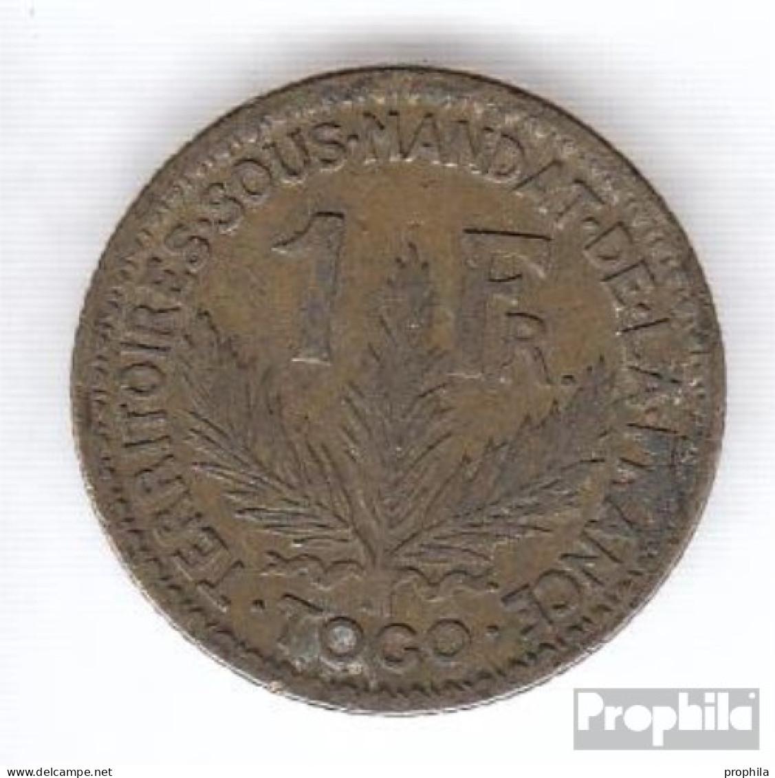 Togo 2 1925 Sehr Schön Aluminium-Bronze Sehr Schön 1925 1 Franc Laureate - Togo