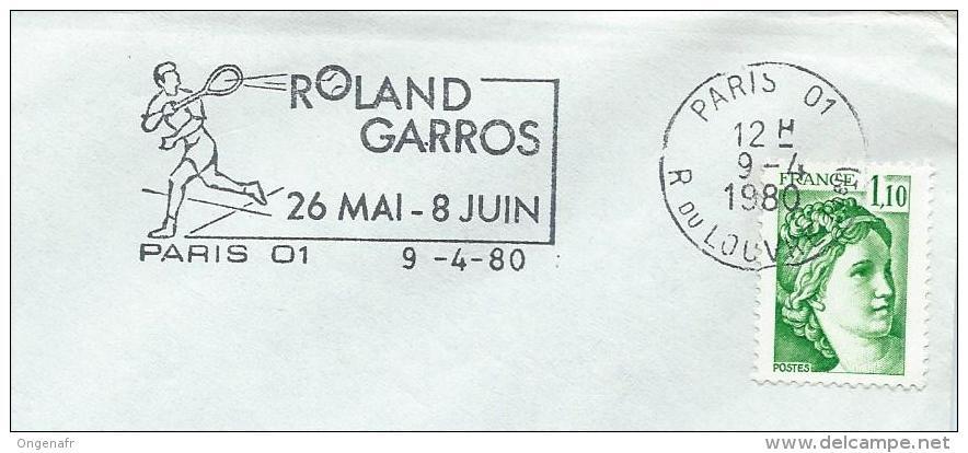 Flamme De Paris 09/04/1980  Pour Le Tournoi De Roland-Garros - Tennis