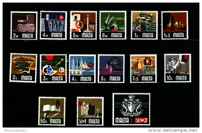 MALTA - 1973  DEFINITIVE  SET MINT NH - Malta
