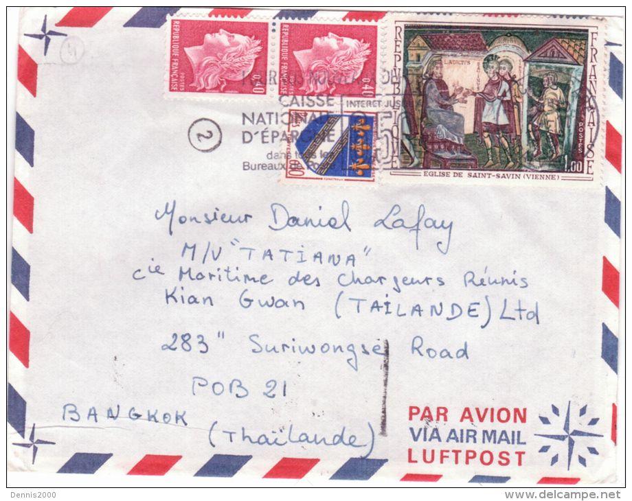 1969- Enveloppe Par Avion De Caen  Pour La THAÏLANDE    -affr. à 1,90 F - - Marcophilie (Lettres)