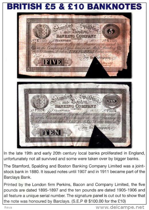 GREAT BRITAIN 5 POUND BLACK THE STAMFORD,BOSTON &SPALDING FRONT BACK  P.374c DATED 27-06-1897 G READ READ DESCRIPTION !! - …-1952 : Before Elizabeth II