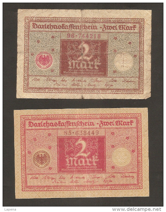 Alemania 2 Mark 1920 Used 2 Tipos Diferentes - [ 3] 1918-1933 : República De Weimar