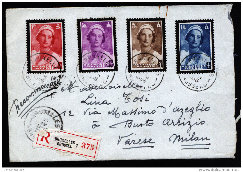 A3043) Belgien Belgium R-Brief Von Bruxelles 11.4.1936 Nach Italien - Briefe U. Dokumente