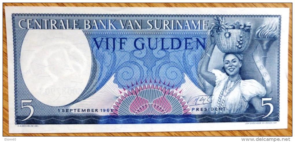 1963 Used 5 Gulden Surinam Banknote No BK-963. - Surinam
