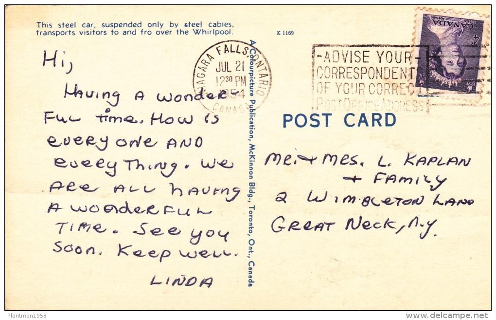 Antique Card, Spanish Aerocar Over Whirlpool, Niagara Falls, Ontario, Canada, Posted With Stamp, N18. - Niagara Falls
