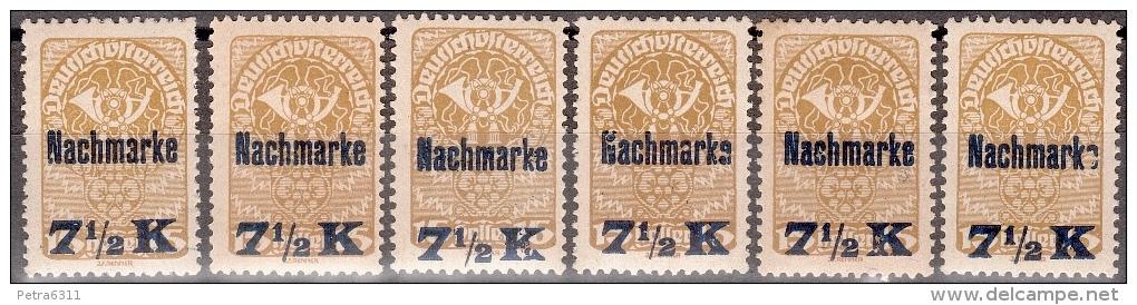 AUSTRIA ÖSTERREICH 1921Nachmarke Mit Diversen  Aufdruckfehlern MNH / ** / POSTFRISCH - Strafport