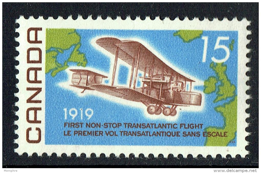 1969  Alcock-Brown  First Non-Stop Transatlantic Flight 50th Ann.. Sc 494  MNH - 1952-.... Règne D'Elizabeth II