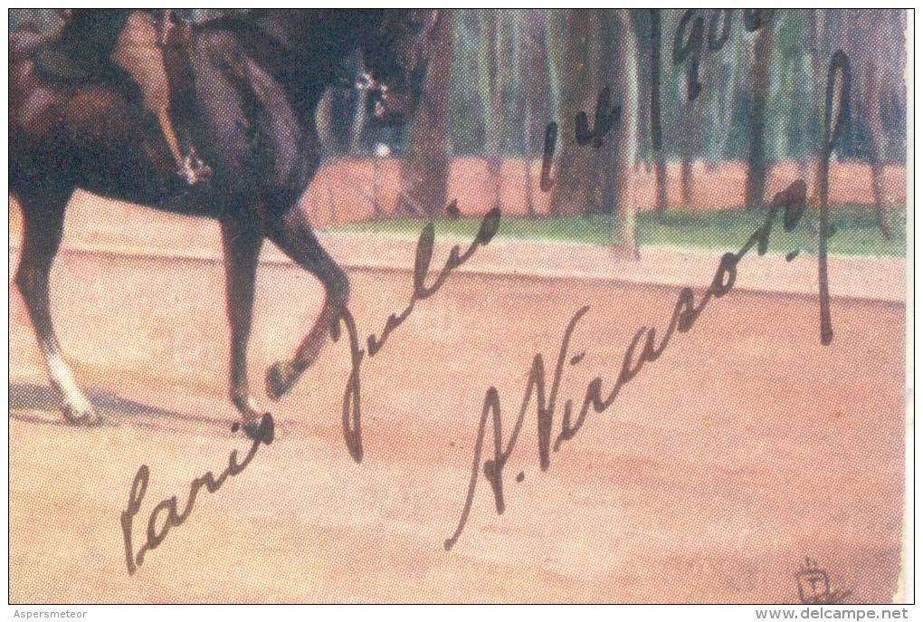 ALEJANDRO VIRASORO AUTOGRAFO SOBRE TARJETA POSTAL BOIS DE BOULOGNE PARIS AÑO 1906 RARE AUTOGRAPH TOP COLLECTION - Autógrafos