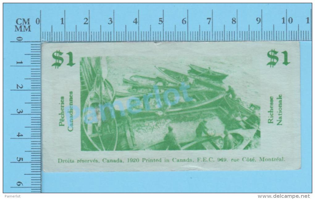 1920, Monnaies Scolaires, Billet De 1$ Quebec Canada ( John McDonald Par Frères Des Écoles Chrétiennes )recto/Verso - Unclassified