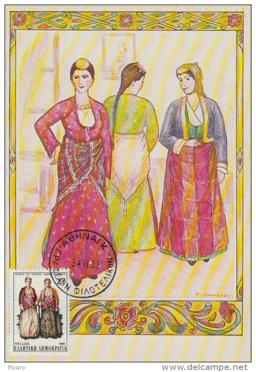Carte-Maximum GRECE N°Yvert 1583 / Costumes - Maximum Cards & Covers