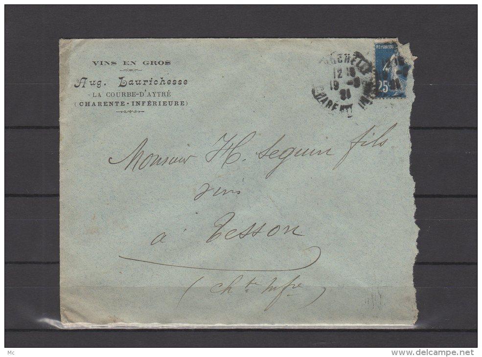 17 - La Courbe D'Aytré - Aug. Laurichesse - Vins En Gros - 1921 - Postmark Collection (Covers)