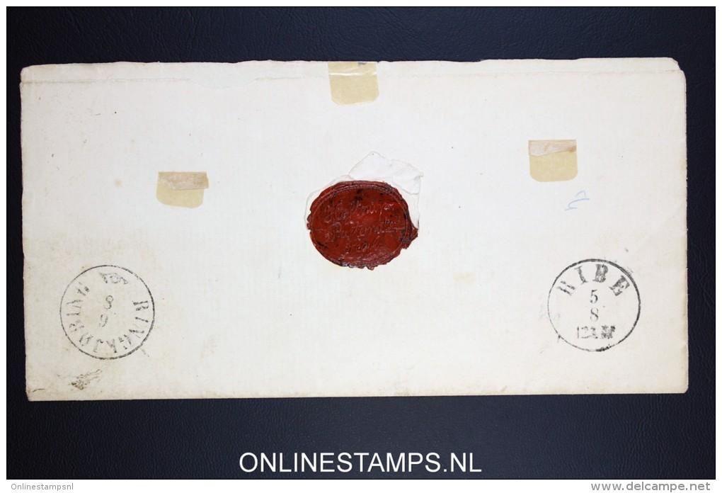 Danmark: Cover With 4 Skilling Brown  Ribe / Ringkjøbing Very Nice Waxseal - Briefe U. Dokumente