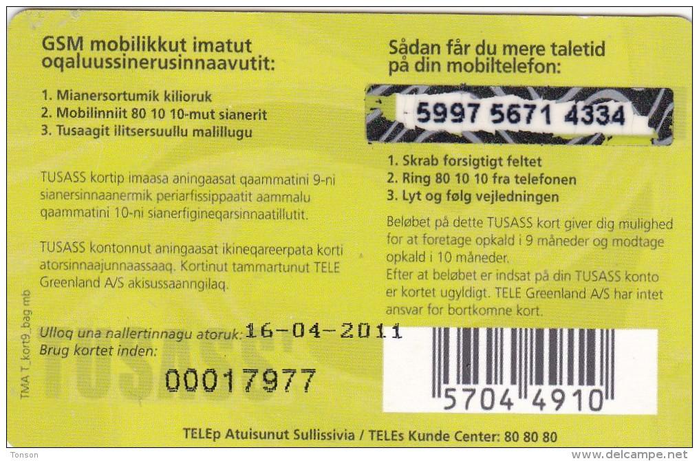 Greenland, PRE-GRL-1014, 100 Kr, Www.tele.gl, Whaletail, 2 Scans   Expiry 16-04-2011. - Groenland