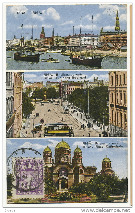 Riga Russian Church  Freiheits Boulvard Tramway Tram Stamped Not Postally Used - Lettonie