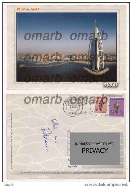 Car1175  Emirati Arabi Uniti Dubai Burj Al-Arab Stamps Francobollo Falco Hawk Faucon Gulf Greetings Veduta Aerea Città - Emirati Arabi Uniti