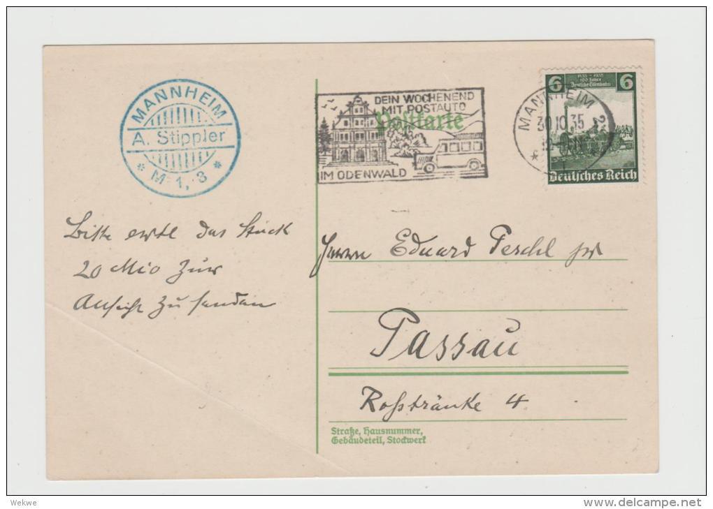 III-313/ Posreigenwerbung Für Postbusfahrten Im Odenwald, Ex Mannhei NACH PASSAU - Allemagne