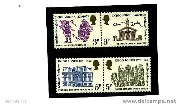 GREAT BRITAIN - 1973 INIGO JONES  SET MINT NH - 1952-.... (Elisabetta II)