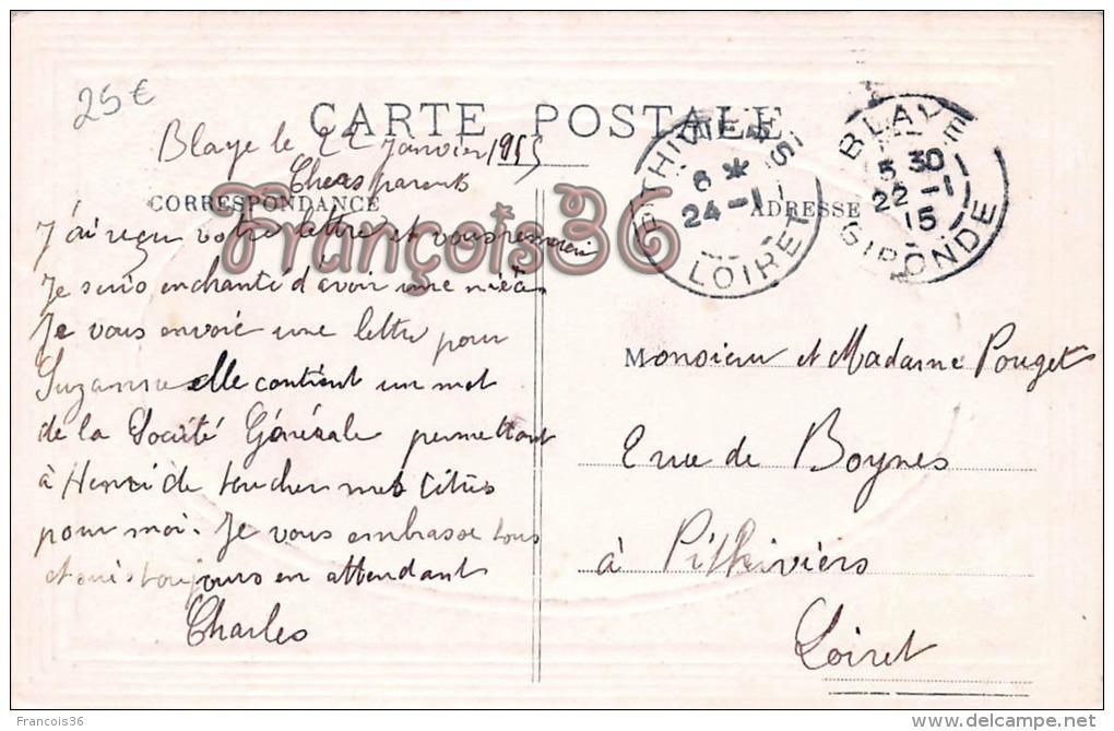 (33) Blaye - Vue Générale Du Port - Carte Gauffrée - 2 SCANS - Blaye