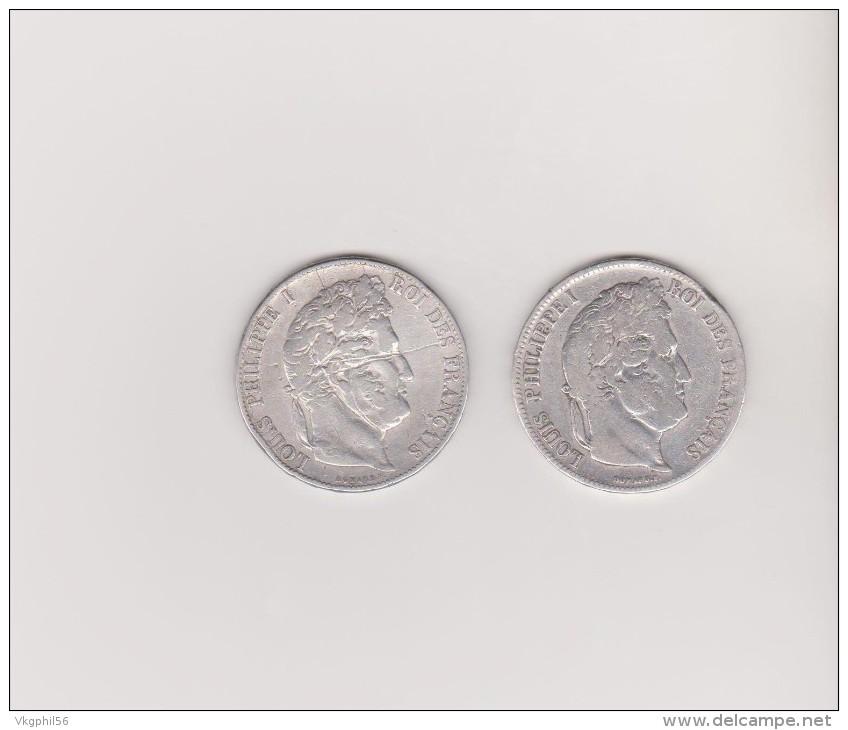 2 Pièces En Argent De 5Fr Louis Philippe  De 1837 Et 1846. Voir Scans - J. 5 Francs