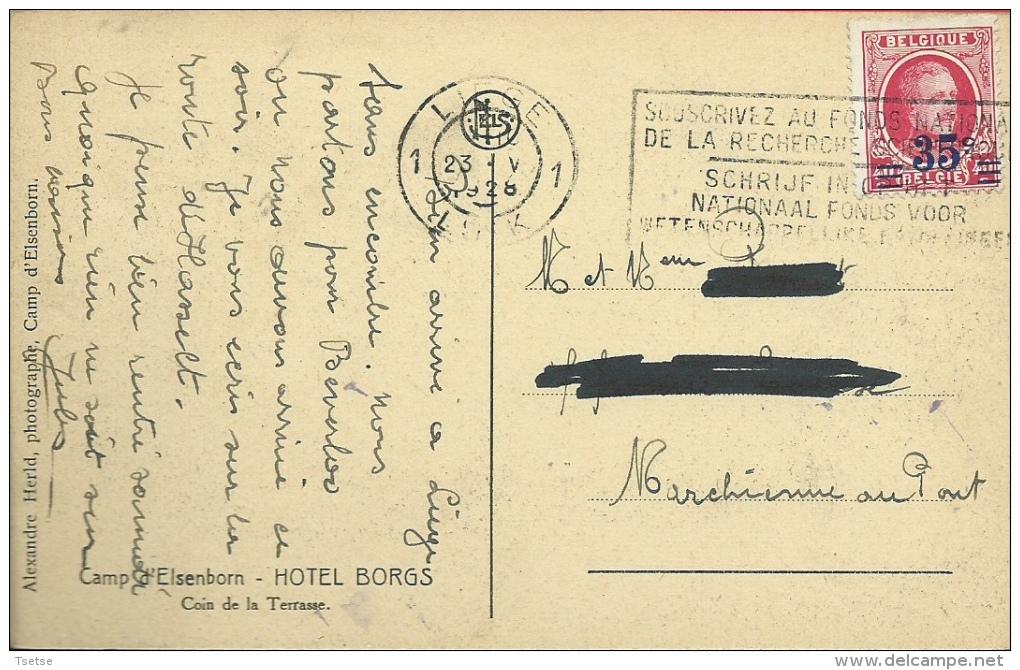Camp D´Elsenborn - Hôtel Borgs - Coin De La Terrasse  - 1928  ( Voir Verso ) - Elsenborn (camp)