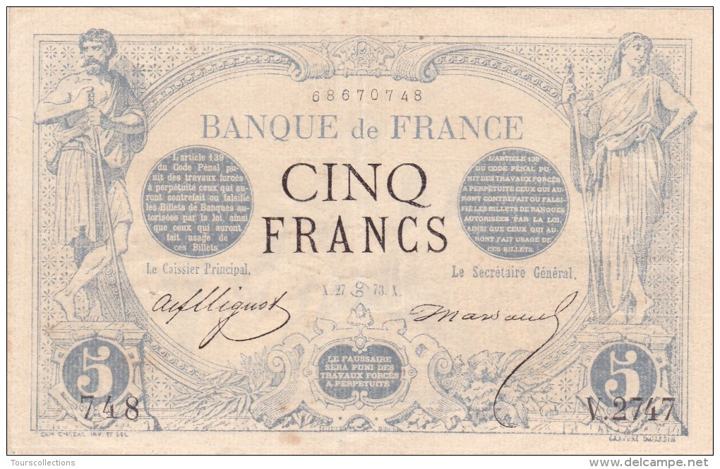 RARE !!! Billet De 5 Francs NOIR En SUP Du 27 Juin 1873 Cancer - V 2747 Alph 748 @ 2 Scans - N° Fayette : 1 - 5 F 1871-1874 ''Noir''