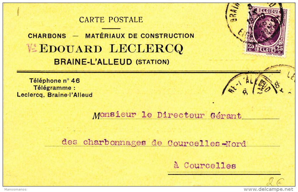 376/23 - Carte Privée TP Houyoux BRAINE L' ALLEUD 1926 - Entete Charbons - Matériaux Veuve Leclercq - 1922-1927 Houyoux