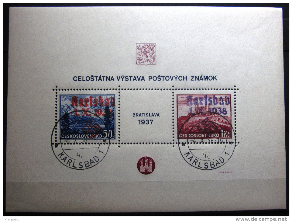 Allemagne   3° Reich      (BF 1 KARLSBAD  Michel)      BF  De Tchécoslovaquie          OBLITERE - Occupation 1938-45