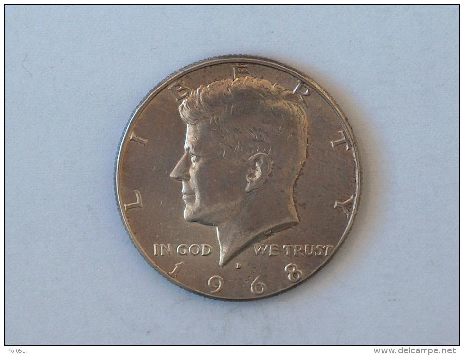 Etats-Unis, United States, USA - Half  1/2 Dollar 1968 1968D - KENNEDY - Silver, Argent - Federal Issues