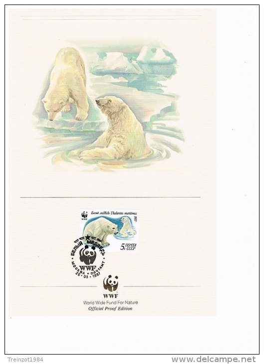 C1023 WWF ZOOGDIEREN MAMMALS IJSBEER POLAR BEAR EISBÄR 1987 PROOF EDITIONS - Autres