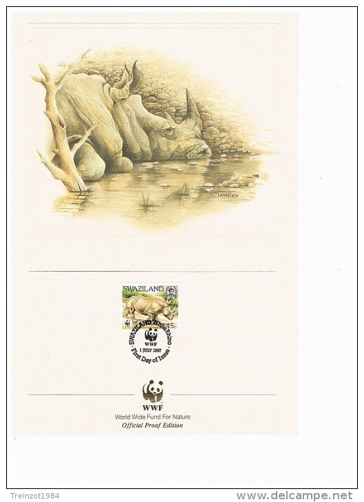 C1025 WWF ZOOGDIEREN MAMMALS NEUSHOORN HIPPO NASHORN SWASILAND SWAZILAND 1987 PROOF EDITIONS - W.W.F.