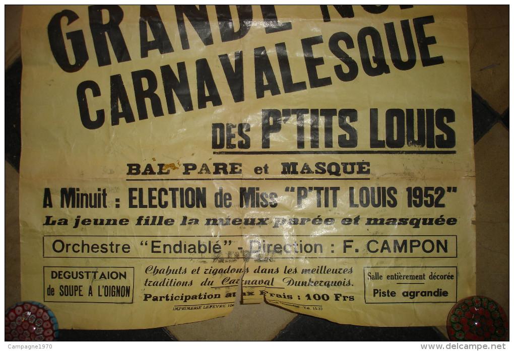 TRES RARE !! ROSENDAEL ( DUNKERQUE NORD ) - AFFICHE FEVRIER 1952 - NUIT DE CARNAVAL DES P'TITS LOUIS - Posters