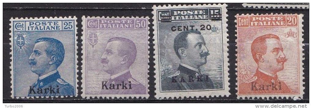 DODECANESE  1912 Black Overprint KARKI On Italian Stamps Vl. 5 - 7 - 8 - 11 MH - Dodekanesos