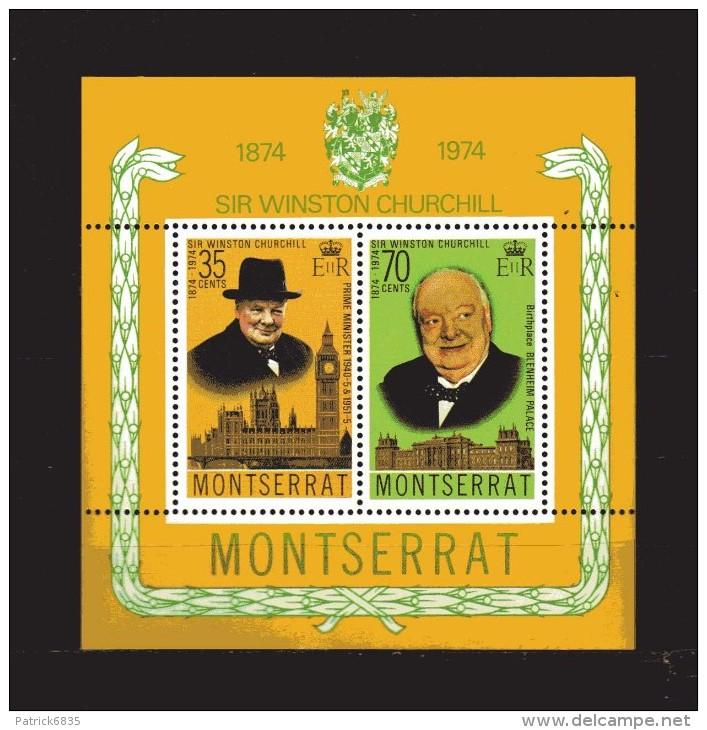Montserrat ** -x- 1974 -  Block -  Sir Winston Churchill.  MNH. - Montserrat