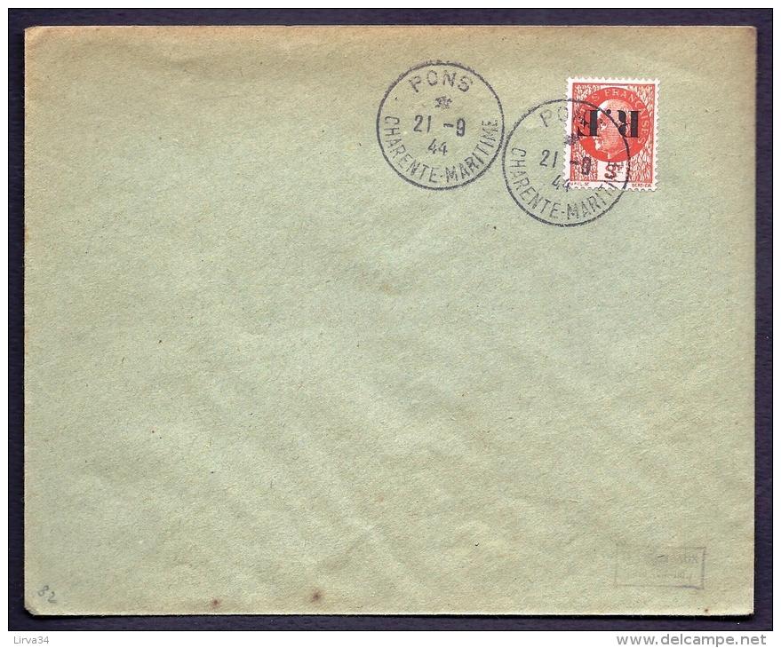 RARE LETTRE DE LA RÉSISTANCE- PONS N° 9 (17)- SURCHARGE RENVERSEÉ SUR TIMBRE PETAIN 3 F ORANGE- - Poststempel (Briefe)