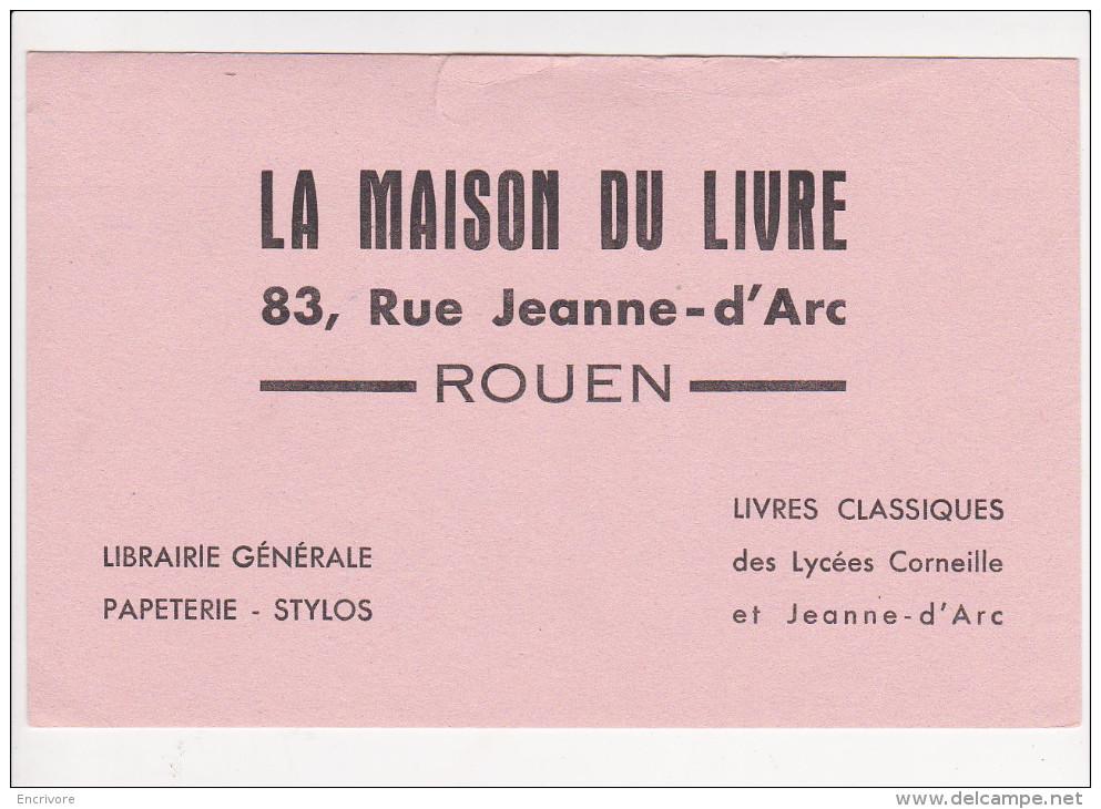 Buvard LA MAISON DU LIVRE Librairie Papéterie Stylo Livres Lycee Corneille Jeanne D Arc ROUEN - Papeterie
