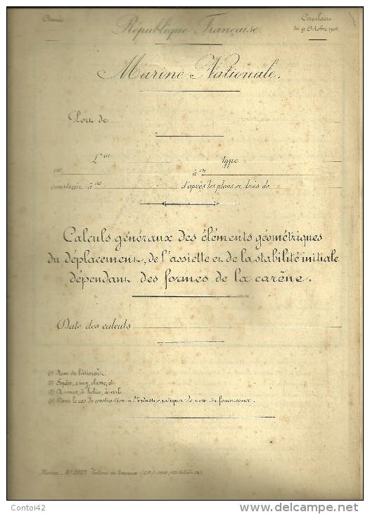 MILITARIA MARINE NATIONALE CIRCULAIRE 1902 CONSTRUCTIONS NAVALES NAVIRE BATEAUX GUERRE - Boten