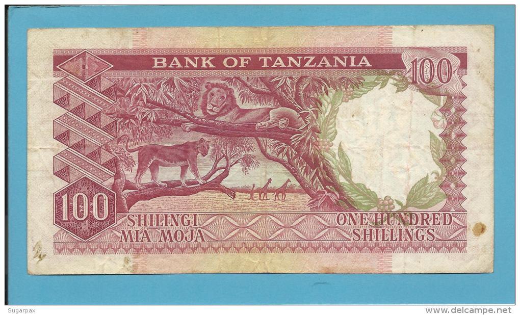 100 SHILLINGS - ND ( 1966 ) - P 5b - Sign. 3 - Serie T -  Julius Nyerere / Animals - BANK OF TANZANIA - Tanzanie