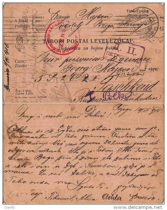 CAMPO PRIGIONIERI AUSTRO-HUNGARIAN TASKENT RUSSIA 1915 POW CROATIA POZEGA - Correo Militar (PM)