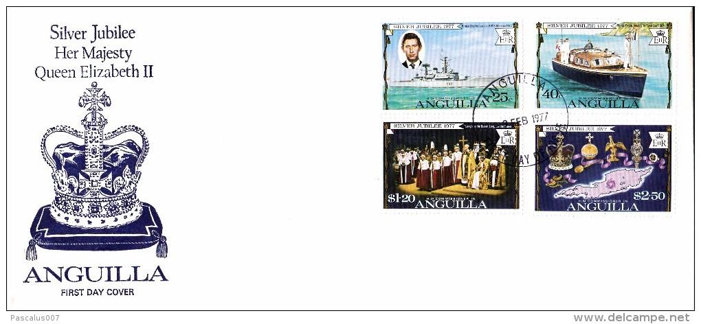 GE-01-006 - Anguilla FDC - Grande Enveloppe  - COB 269-270-271-272 -  -  - QUEEN ELISABETH 25 JAAR KRONING -  Du 9-2-197 - Anguilla (1968-...)