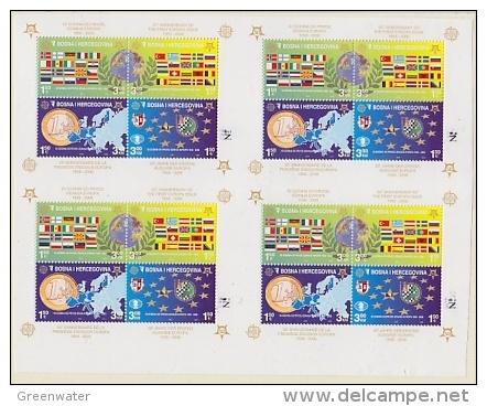 Bosnia/Herzegovina Sarajevo 2005 50Y Europa M/s Perforated + N° In Margin (in Sheetlet Of 4, Very RARE  ** Mnh (F2893) - Europese Gedachte