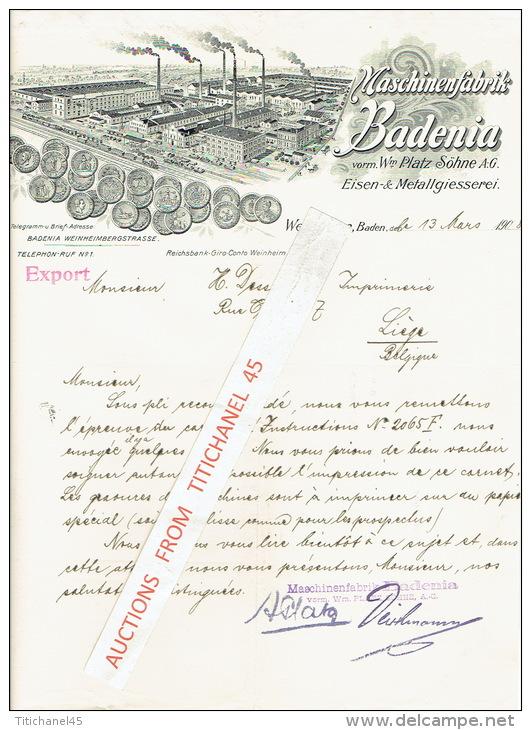 Brief 1908 WEINHEIM, Baden - STUTTGART - Maschinenfabrik BADENIA, Vorm. Platz Söhne AG - Eisen-& Metallgiesserei - Allemagne