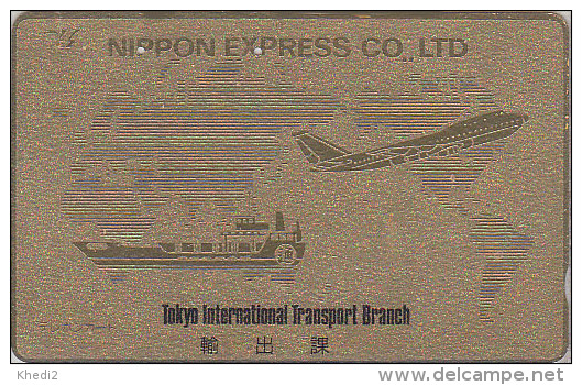 Télécarte Dorée Japon / 110-75407 - Aviation - NIPPON EXPRESS - AVION & BATEAU - Plane & Ship Japan Gold Phonecard - 521 - Avions