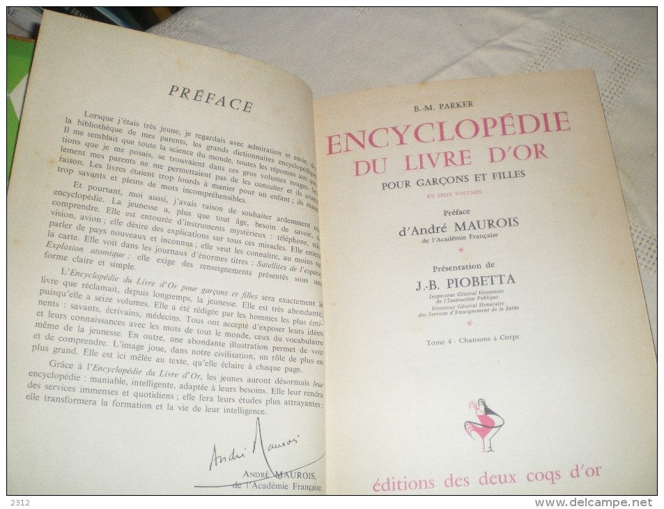 ENCYCLOPEDIE DU LIVRE D´OR POUR GARCONS ET FILLES - LIVRE 4 - CHANSON A CORPS - Livres Pour Enfants