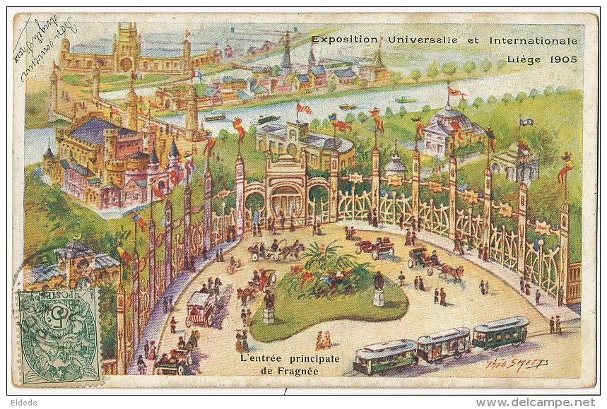 Liege  Expo Universelle 1905 Entrée Principale De Fragnée Signée Theo Smeets Tramway Tram DTC Anvers - Liege