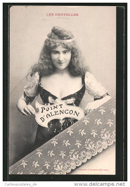 AK Madame Boucot Geklöppelte Spitze Aus Point D'Alencon - Postales