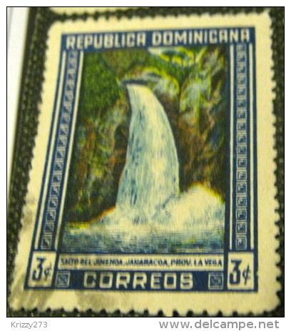 Dominican Republic 1947 Jimenoa Waterfall 3c - Used - Dominican Republic
